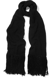 Helmut Lang Fringed Wool And Cashmere Blend Scarf Black