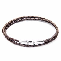 Anchor And Crew Dark Brown Liverpool Silver Leather Bracelet