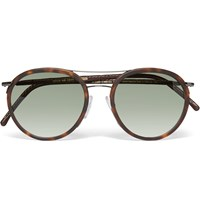 Cutler And Gross Aviator Style Leather Trimmed Tortoiseshell Acetate Sunglasses Brown