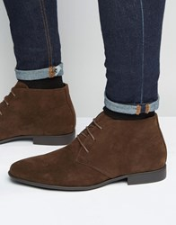 Asos Chukka Boots In Brown Faux Suede Brown