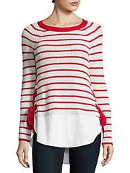 Cable And Gauge Long Sleeve Hi Lo Striped Sweater Ivory Black