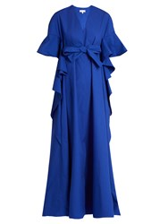 Delpozo V Neck Ruffled Edge Cotton Gown Blue