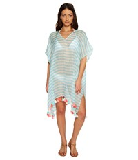 Seafolly Linen Block Stripe Kaftan Cover Up Pastel Turquoise Women's Swimwear Blue
