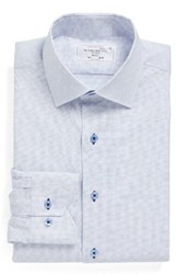 Lorenzo Uomo Men's Big And Tall Trim Fit Check Dress Shirt Light Blue