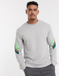 Only And Sons Dropped Shoulder Crew Neck Taped Sleeve Sweat In Grey