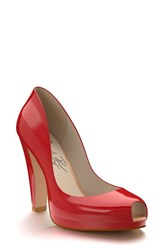 Women's Shoes Of Prey Patent Leather Peep Toe Platform Pump Red Patent