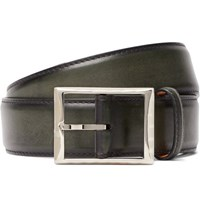 Berluti 3.5Cm Green Polished Leather Belt Green