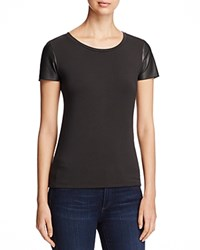 Majestic Filatures Leather Sleeve French Terry Tee Noir