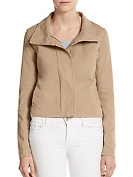 James Perse Knit Paneled Moto Jacket Light Khaki
