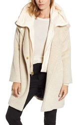 Trina Turk Coat With Hooded Bib Beige