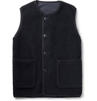 Pilgrim Surf Supply Hayes Reversible Wool Blend Fleece And Nylon Gilet Midnight Blue