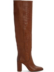 Strategia 80Mm Croc Embossed Over The Knee Boots Brown