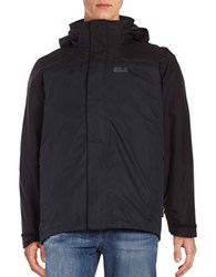Jack Wolfskin Hooded 3 In1 Jacket Black