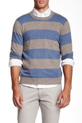 Qi Cashmere Crew Neck Rugby Stripe Sweater Multi