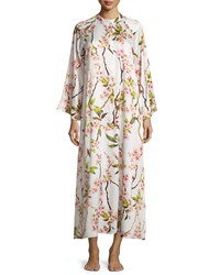 Natori Blossom Zip Up Caftan Dress Petal Pink Size Small