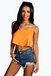 Boohoo Woven Crop Swing Cami Orange