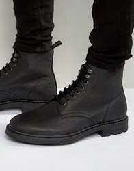 Religion Scotchgrain Leather Laceup Boots Black