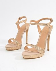 12f769baa Lipsy Glitter Barely There Heeled Sandal Gold