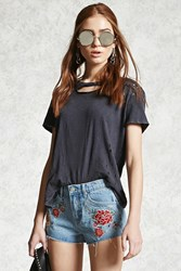 Forever 21 Embroidered Floral Denim Shorts Denim Red