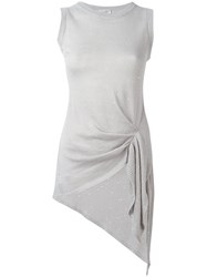 Brunello Cucinelli Gathered Knit Top Women Silk Linen Flax Polyester M Nude Neutrals