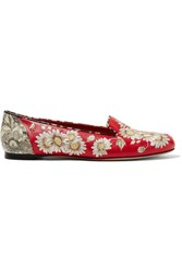 Alexander Mcqueen Embroidered Leather Loafers It36