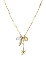 Lucky Brand Sun Kissed Moments Semi Precious Rock Crystal Dual Tone Bird Cluster Carded Necklace Gold