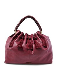 Steve Madden Braided Handle Suede Hobo Bag Wine