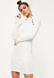 Missguided White Stud Detail Bodycon Dress Cream