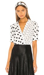 Tanya Taylor Angela Blouse In White. Polka Dot And Large White