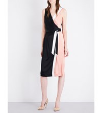 Diane Von Furstenberg Colourblock Crepe Wrap Dress Dusty Rose Black Ivory