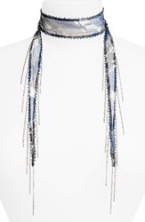 Chan Luu Women's Beaded Floral Tie Necklace Blue Mix