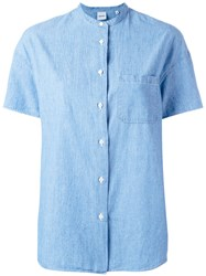 Aspesi Collarless Shirt Blue