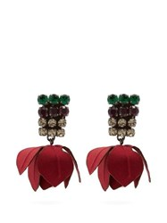 Marni Flower And Crystal Clip On Earrings Red