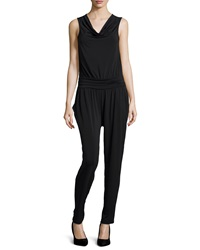 Neiman Marcus Gathered Waist Cowl Neck Jumpsuit Onyx