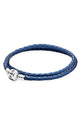Pandora Design Women's Pandora Leather Wrap Charm Bracelet Blue