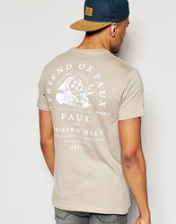 Friend Or Faux T Shirt Lightening Back Print Beige