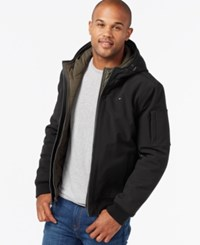 Tommy Hilfiger Men's Big And Tall Double Layer Hooded Bomber Coat Black Olive