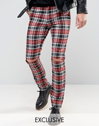 Reclaimed Vintage Skinny Tartan Trousers With Knee Rips Red