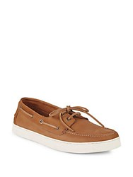 Vince Camuto Greg Leather Boat Shoes Tan