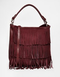 Oasis Fringed Hobo Bag Burgundy