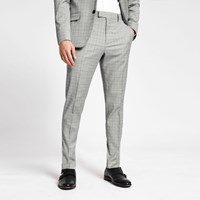 River Island Grey Check Slim Fit Trousers