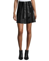 Derek Lam Patchwork Leather A Line Skirt Black