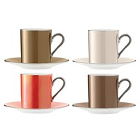 Lsa International Polka Assorted Coffee Cups And Saucers Set Of 4 Metallic