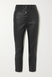 Ann Demeulemeester Cropped Lace Up Leather Skinny Pants Black