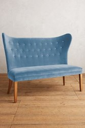 Anthropologie Velvet Wingback Bench Armless Light Blue