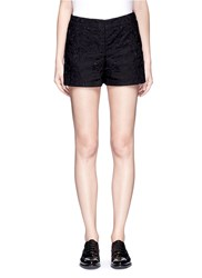 Theory 'Micro E' Floral Lace Embroidery Linen Cotton Shorts Black