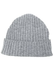 Eleventy Ribbed Knit Beanie Grey