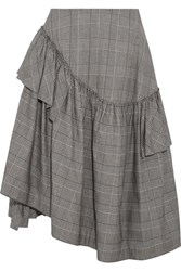 Simone Rocha Asymmetric Ruffled Prince Of Wales Checked Cotton Blend Midi Skirt Gray