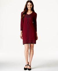 Studio M Geo Print Knit Dress Oxblood H Charcoal