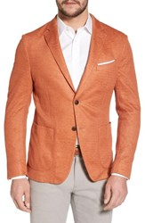 Flynt Big And Tall Trim Fit Heathered Jersey Blazer Orange